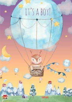 Es una tarjeta de felicitación de baby shower para niños con lindos ciervos volando en un globo aerostático