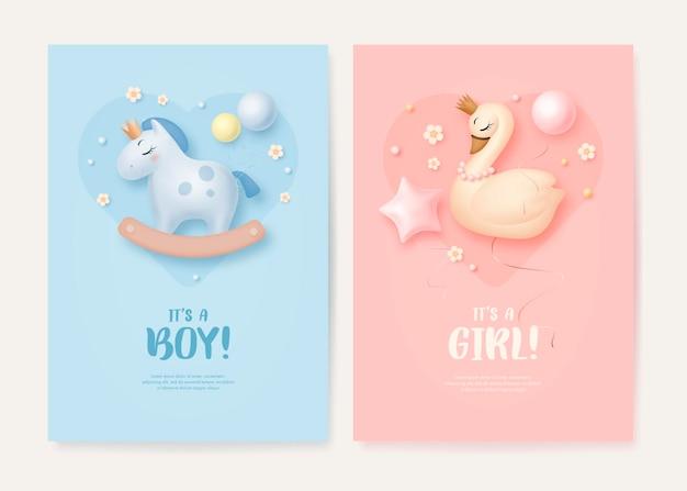 Es una tarjeta de felicitación de niño o niña para baby shower con un lindo caballo y un cisne.