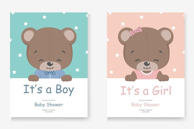 Es una tarjeta de felicitación de niño o niña para baby shower con un osito lindo