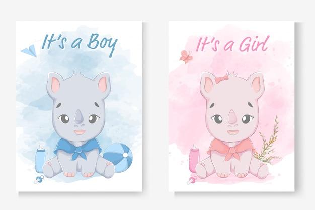 Es una tarjeta de felicitación de niño o niña para baby shower con un pequeño rinoceronte lindo.