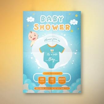 Es una tarjeta de la invitación de la fiesta de bienvenida al bebé del muchacho