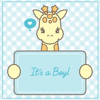 Es una tarjeta de jirafa bebé niño para baby shower