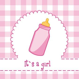 Es una tarjeta de niña con biberón baby shower.