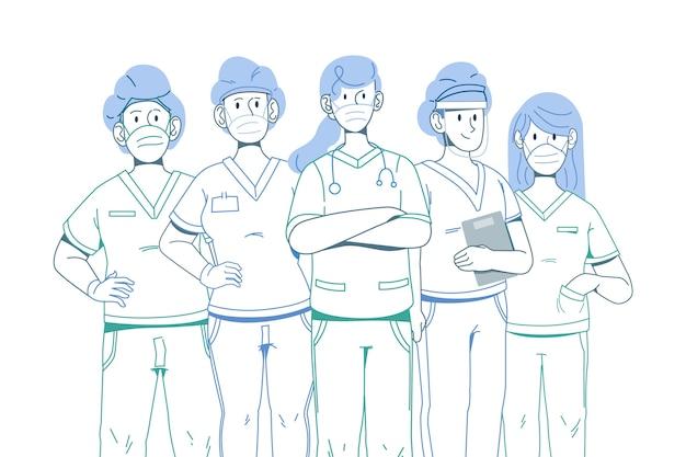 Esbozar héroes del sistema médico.