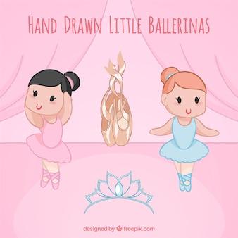 Esbozo de simpáticas pequeñas bailarinas con zapatos