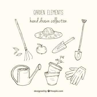 Esbozos de herramientas de jardín