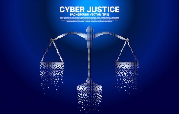 Escala de justicia del estilo digital de píxeles cuadrados. concepto de juicio social cibernético