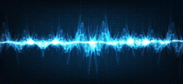 Escala de richter baja y alta de onda de sonido electrónico sobre fondo azul, concepto de diagrama de onda de terremoto y digital