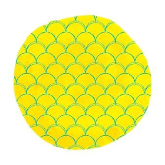 Escala de sirena sobre fondo de acuarela. colores brillantes. fondo redondo dibujado a mano con adorno de escala de sirena. banner e invitación de cola de pez. patrón de mar y submarino de niña. vector amarillo.