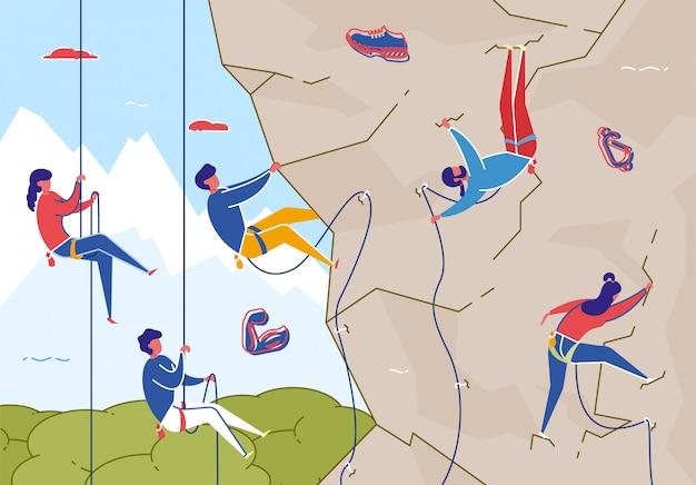 Escalada en roca con equipo, deporte extremo plano.