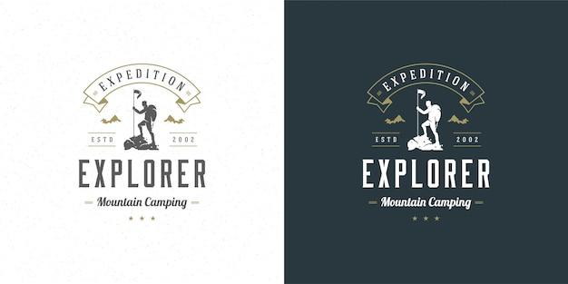Escalador logo emblema aventura al aire libre expedición vector ilustración alpinista hombre silueta