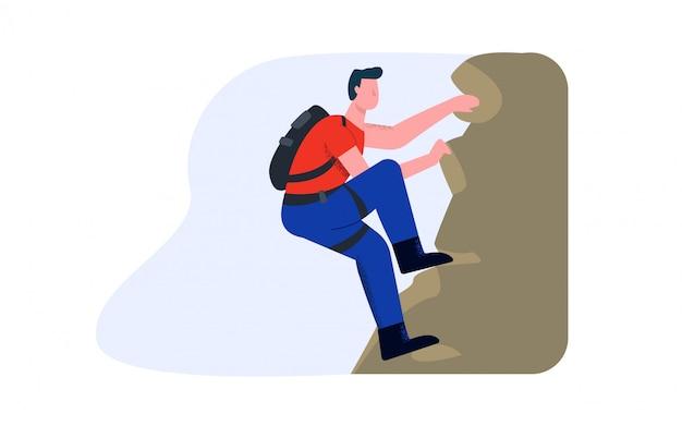 Escalador sube la montaña. el concepto de alpenismo profesional y aficionado.