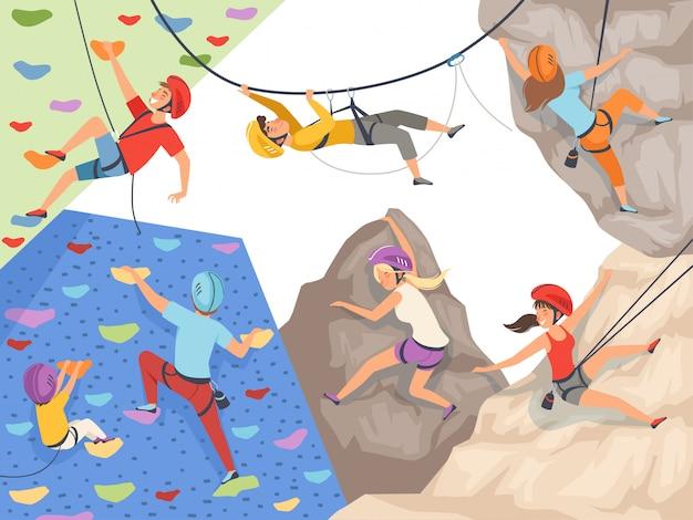 Escalar personajes. deporte extremo pared de acantilado rocas y piedras grandes colinas rocosas y montañas explorar deportistas masculinos y femeninos