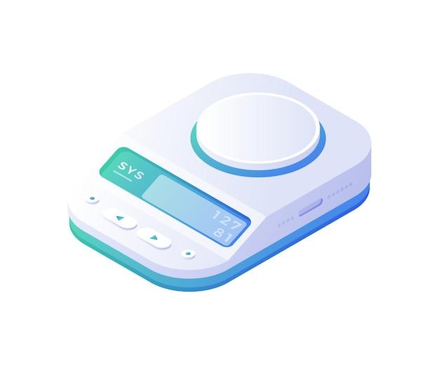 Escalas electrónicas precisas isométricas. dispositivo blanco medido con panel azul digital de alta sensibilidad para determinación de peso. dispositivo para trabajos científicos de laboratorio y centros de investigación.