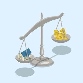 Escalas de valor de venta de hipotecas inmobiliarias isométricas planas