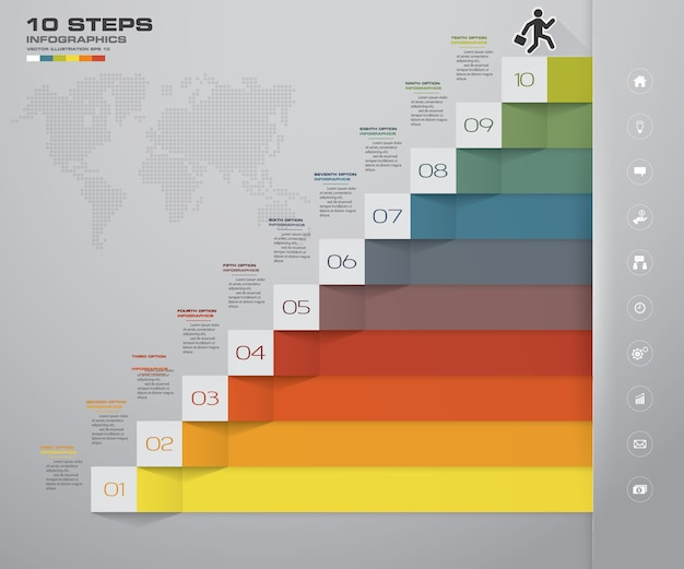 Escalera de 10 pasos elemento de infografía para la presentación.