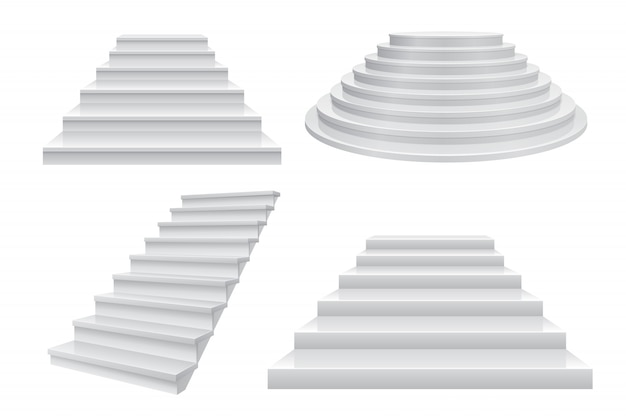 Escalera 3d realista. escaleras de carrera, escalera a la vista frontal de éxito aislado en blanco. plantilla de negocios modernos