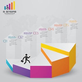 Escalera de 5 escalones de elemento infográfico para presentación.