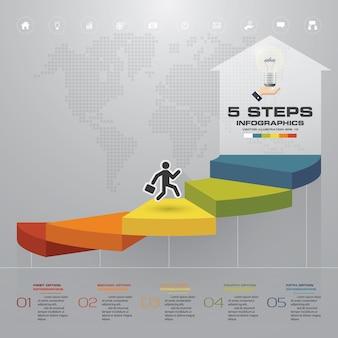 Escalera de 5 pasos elemento de infografía para la presentación.