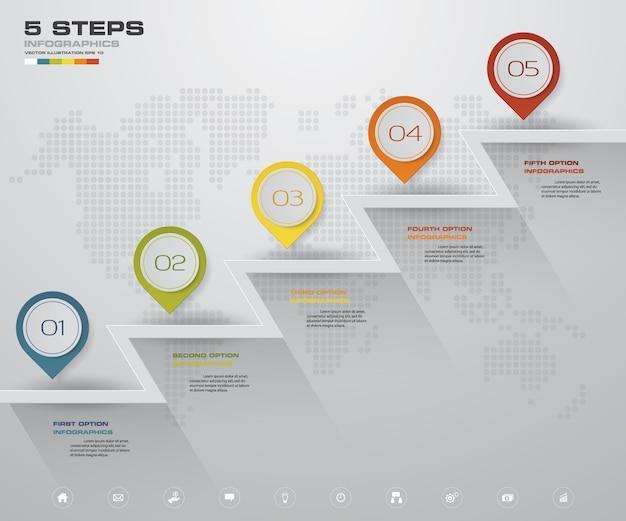 Escalera de 5 pasos tabla de elementos de infografía.