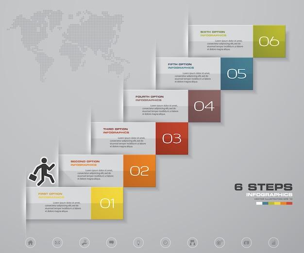 Escalera de 6 pasos elemento de infografía para la presentación.