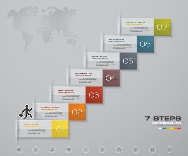 Escalera de 7 pasos elemento de infografía para la presentación.