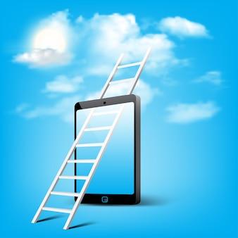 Escalera al almacenamiento en la nube a través del arte conceptual de teléfonos inteligentes móviles