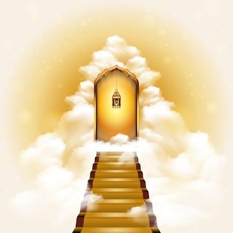 Escalera al cielo puerta ilustración