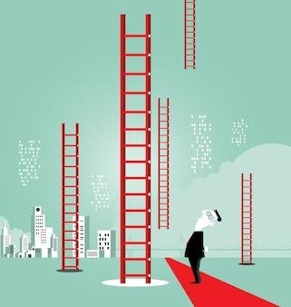 Escalera al éxito - concepto de negocio