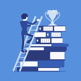 Escalera al éxito en diseño plano