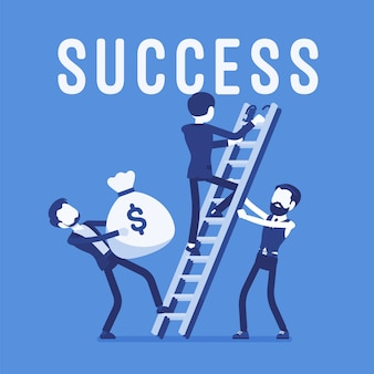 Escalera al éxito. equipo de hombres de negocios que ascienden a un alto objetivo o propósito, logro del mercado, ganancia financiera, nuevas inversiones, negocios, ganancias de la compañía. ilustración con personajes sin rostro