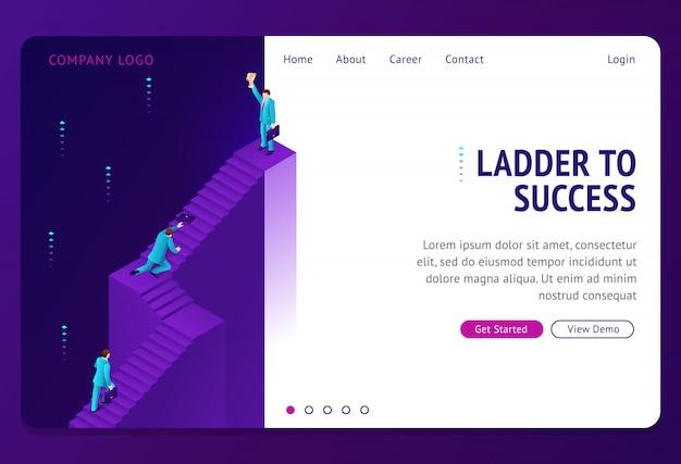 Escalera al éxito isométrica landing page