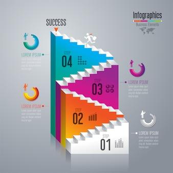 Escalera al éxito, plantilla de diseño infográfico