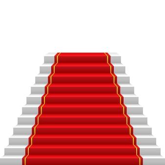 Escalera con alfombra roja camino de alfombra roja al éxito escaleras arriba
