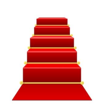 Escalera con alfombra roja.