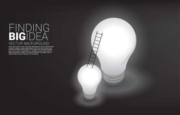 Escalera de la bombilla pequeña a la grande. negocio encontrando gran idea y pensamiento