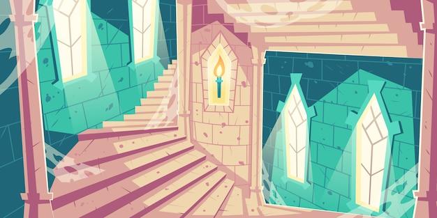 Escalera de caracol en la ilustración de dibujos animados de la torre del castillo