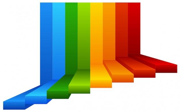 Una escalera de colores sobre fondo blanco