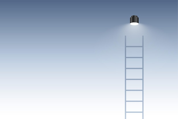 Escalera de escalera con fondo de concepto de bombilla