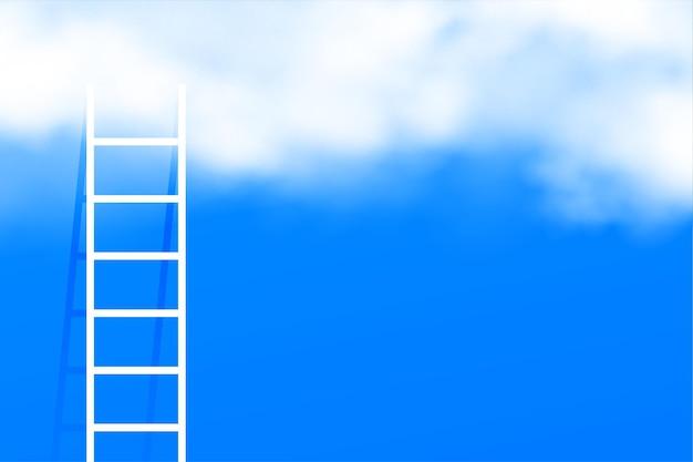 Escalera de escalera en el fondo del concepto de nubes