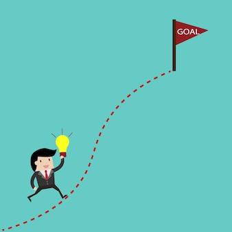 Escalera de éxito que conduce a la nube y muchas cortas.