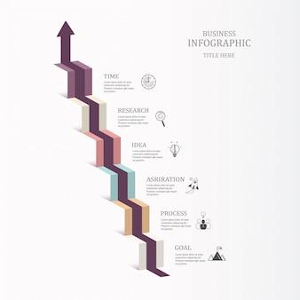 Escalera infografía seis pasos e iconos para el concepto de negocio.