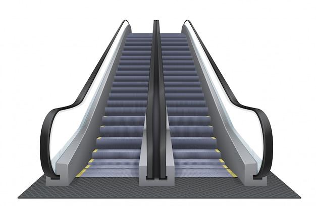 Escalera mecánica realista aislada