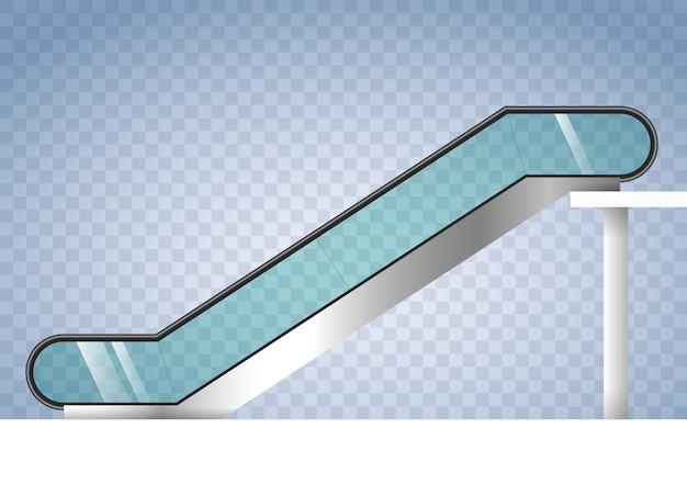 Escalera mecánica con vidrio transparente.
