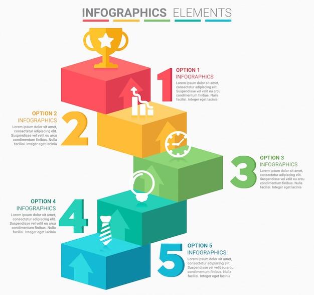 Escalera de negocios de infografía con cinco escalones