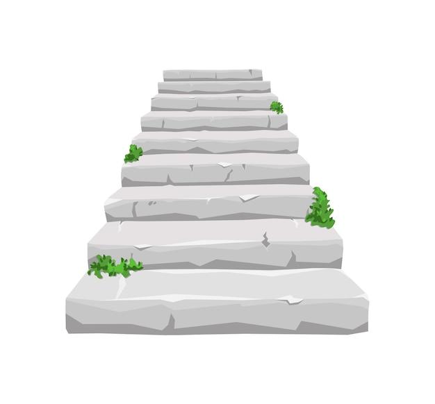 Escalera de piedra antigua con vegetación germinada sobre un fondo blanco aislado