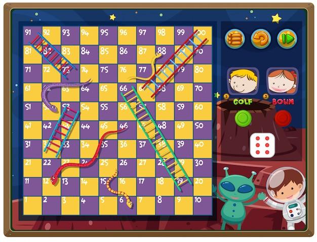 Una escalera de serpientes juego themplate