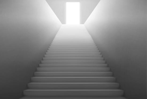 Escalera vacía con luz de puerta abierta en la parte superior.