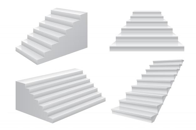 Escaleras 3d realistas. escala de carrera empresarial a vista frontal de escalera de éxito. plantilla de negocios modernos en blanco