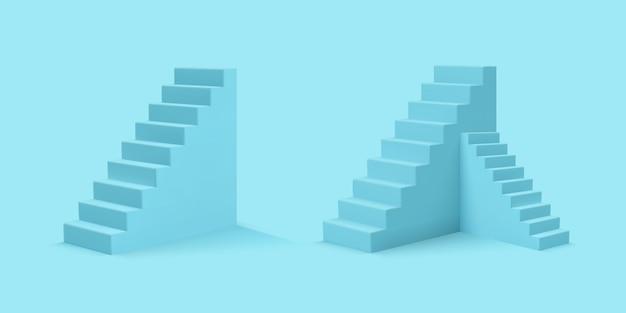 Escaleras azules de estilo realista